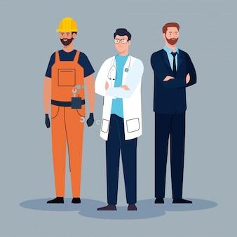 Grupo de hombres de diferentes profesiones, diseño de ilustraciones vectoriales