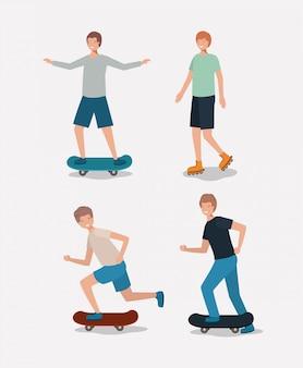 Grupo de hombres haciendo actividades