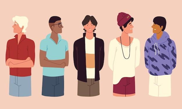 Grupo de hombres jovenes