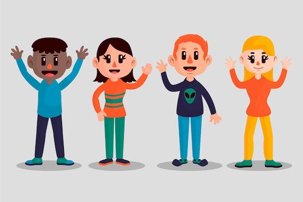 Grupo de hombres y mujeres jóvenes agitando la mano juntos