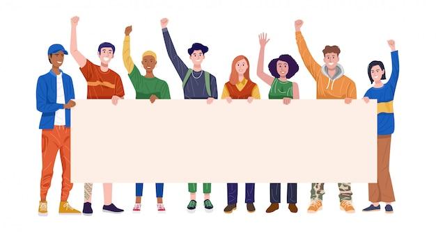 Grupo de hombres y mujeres jóvenes felices sosteniendo la bandera. vector