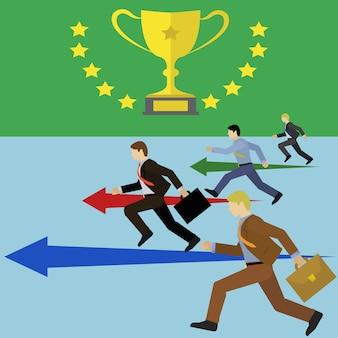 Grupo de hombres de negocios corriendo hacia un objetivo
