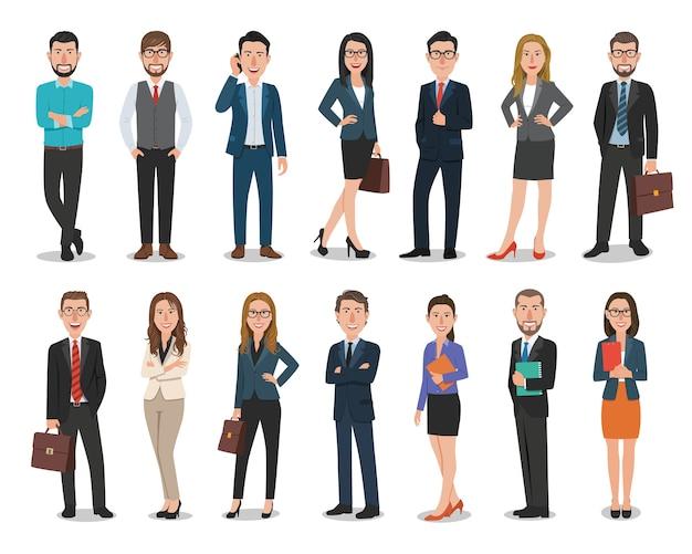 Grupo de hombres de negocios y personajes de mujeres de negocios que trabajan en la oficina