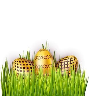 Grupo de huevos de pascua con patrón aislado sobre fondo blanco con campo de hierba verde