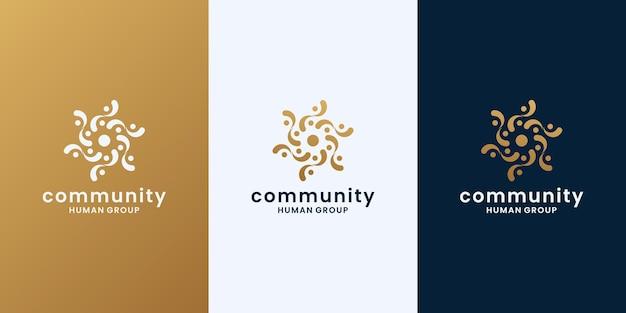Grupo humano dorado, vector de diseño de logotipo comunitario