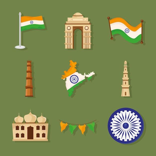 Grupo de iconos indios