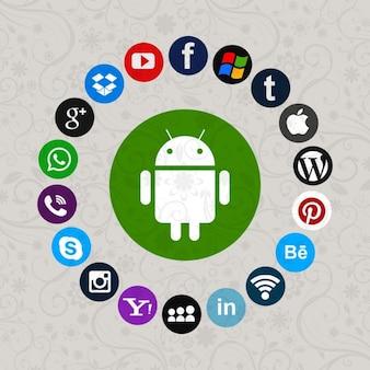 Grupo de iconos de redes sociales