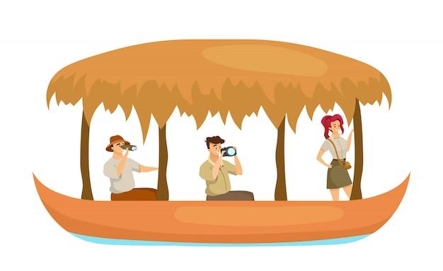 Grupo en la ilustración de color plano del barco. hombre y mujer en barco. exploradores fotografiando. guía turístico con aventurero en embarcación de agua. los turistas aislaron personaje de dibujos animados sobre fondo blanco.