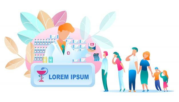 Grupo de ilustración gente stand line farmacia