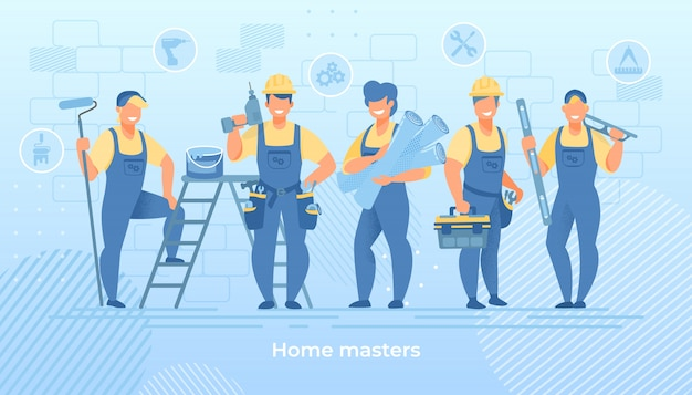 Grupo de ingenieros de la construcción en bata con herramientas.