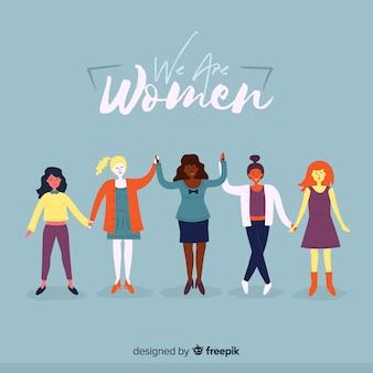 Grupo internacional de mujeres con diseño plano