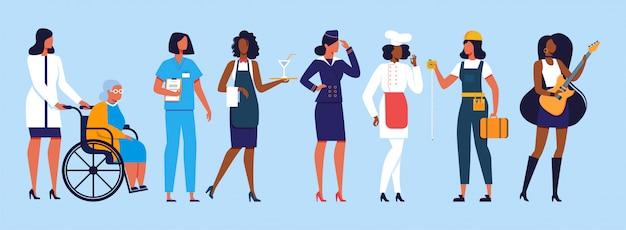 Grupo internacional de mujeres jóvenes diversas e interraciales.