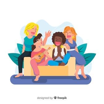 Grupo interracial de mujeres