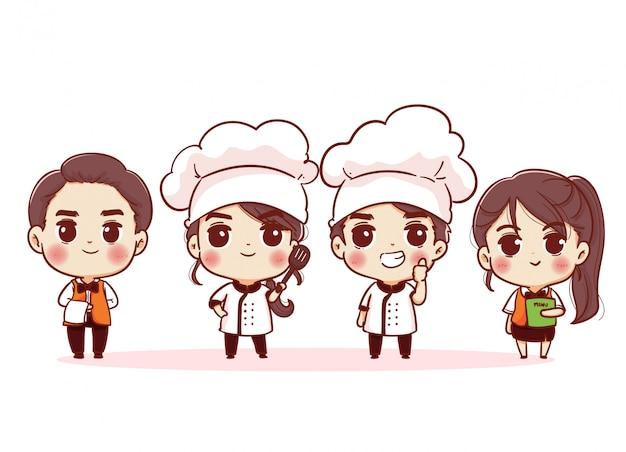 Grupo de jefes de cocina, chefs hombre y mujer. mano dibujar personajes de personas.