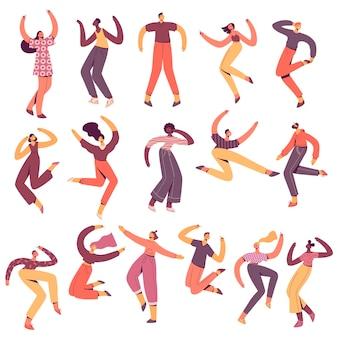 Grupo de jóvenes bailando feliz.