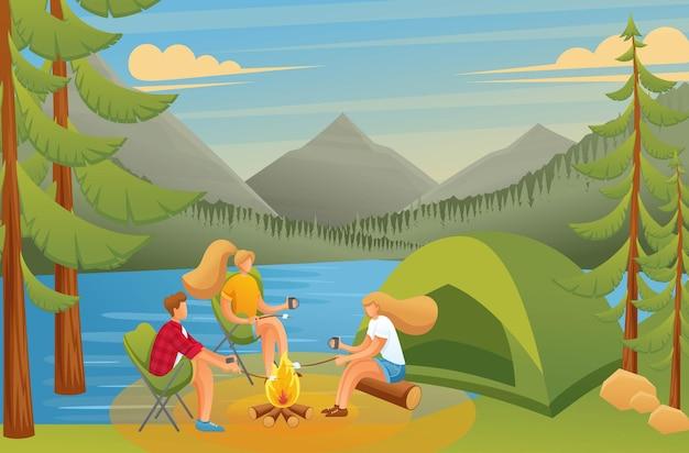 Grupo de jóvenes en un camping, sentados cerca de un fuego en el bosque