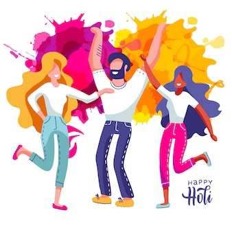 Grupo de jóvenes celebra holi. conjunto de hombre y mujeres tiran salpicaduras de pintura de colores. ilustración en estilo plano de dibujos animados