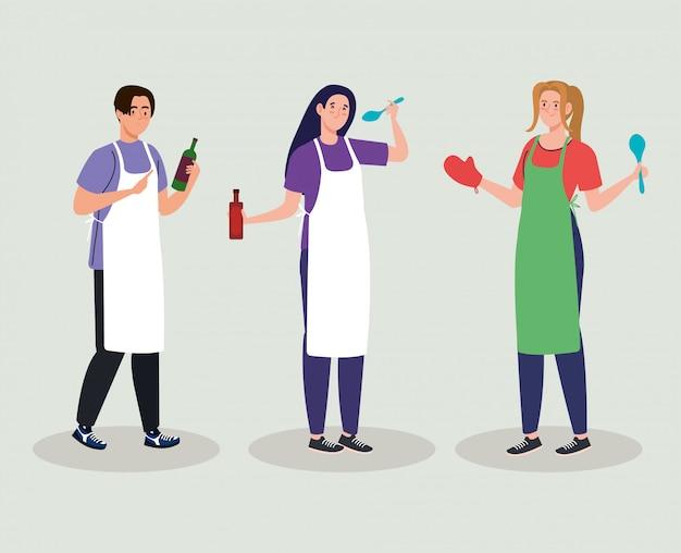 Grupo de jóvenes cocinando con utensilios de cocina