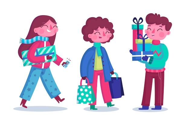 Grupo de jóvenes comprando regalos para navidad