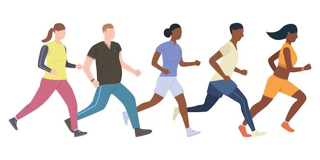 Grupo de jóvenes corredores masculinos y femeninos.