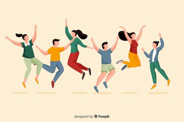 Grupo de jóvenes divirtiéndose ilustrado