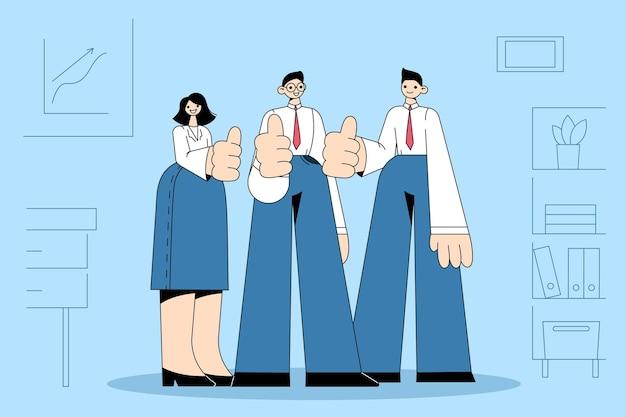 Grupo de jóvenes empresarios positivos trabajadores de pie juntos y mostrando los pulgares para arriba