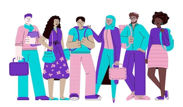 Grupo de jóvenes estudiantes multiétnicos dibujo ilustración de dibujos animados