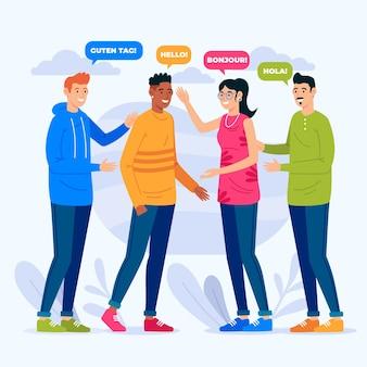 Grupo de jóvenes hablando en diferentes idiomas.