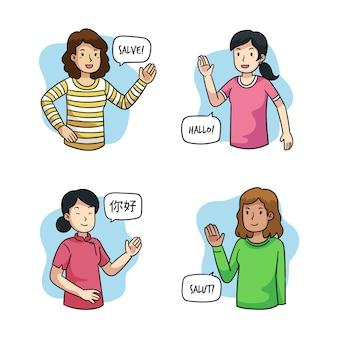 Grupo de jóvenes hablando en diferentes idiomas