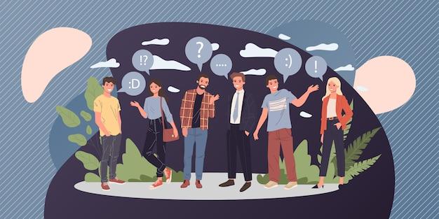 Grupo de jóvenes hablando ilustración