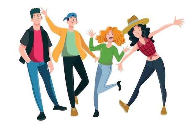 Grupo de jóvenes ilustración