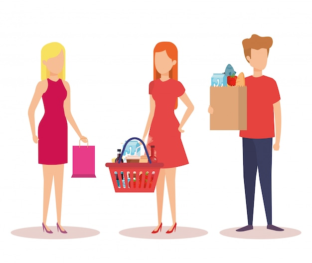 Grupo de jóvenes personajes de compras