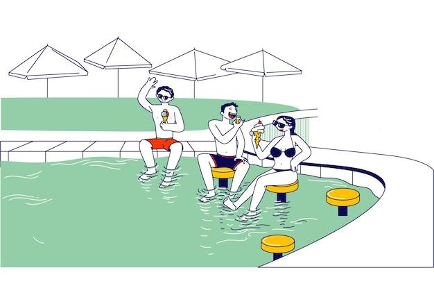 Grupo de jóvenes personajes masculinos y femeninos sentados en taburetes altos en la piscina