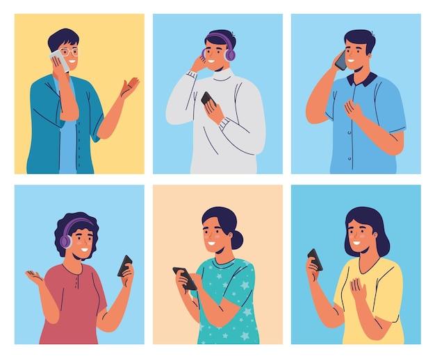 Grupo de jóvenes con personajes de teléfonos inteligentes.