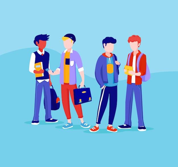 Grupo de jóvenes, de pie juntos, en diferentes poses. estudiantes, escolares ilustración en estilo de dibujos animados. conjunto de muchachos adolescentes. chicos amigos de la escuela.
