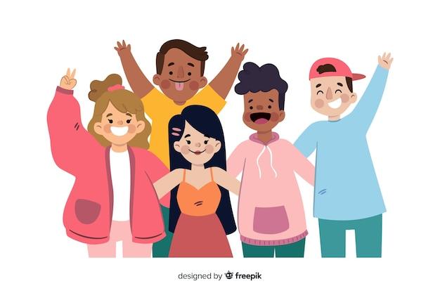 Grupo de jóvenes posando para una foto.