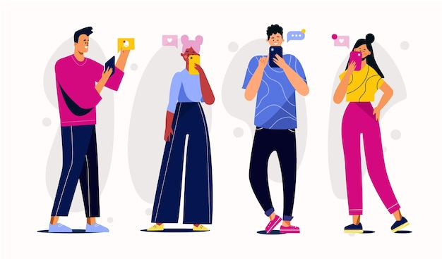 Grupo de jóvenes que utilizan teléfonos inteligentes