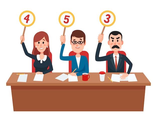El grupo de jueces muestra cuadros de mando con una opinión de evaluación o puntuación.