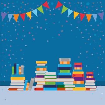Grupo de libros y banderín.
