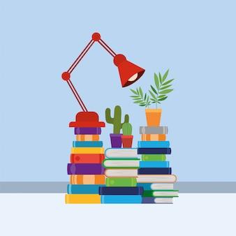 Grupo de libros y lampara