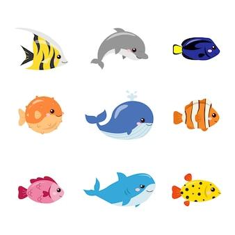 Grupo de lindos peces marinos animales submarinos diseño de dibujos animados de vector plano