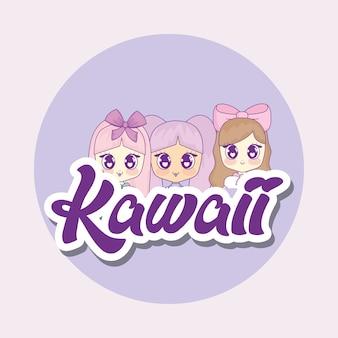 Grupo de lindos personajes de chicas kawaii