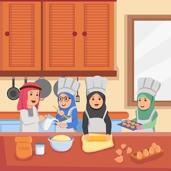 Grupo de little chef árabe en la cocina haciendo galletas de dibujos animados ilustración vectorial