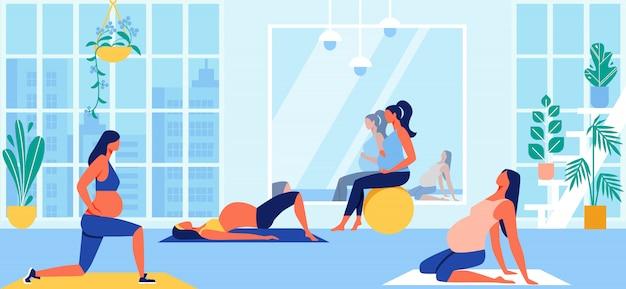 Grupo de maternidad fitness class para mujeres embarazadas