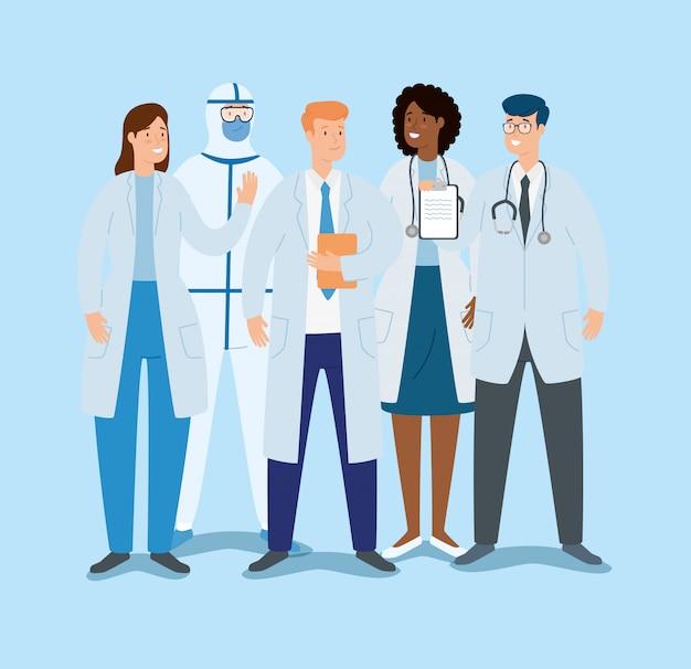 Grupo de médicos para el cuidado de covid 19