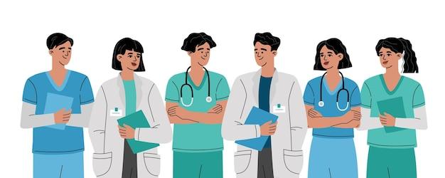 Grupo de médicos, enfermeras y equipo médico en blanco