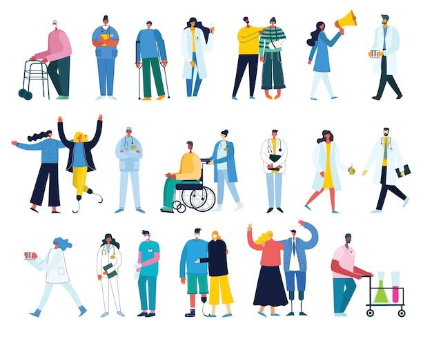 Grupo de médicos y enfermeras y personal médico. concepto de equipo médico en carácter de personas de diseño plano.