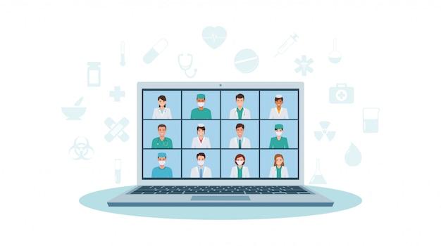 Grupo de médicos y enfermeras, personal médico, videollamadas por computadora portátil que trabajan en el hospital durante la cuarentena pandémica de coronavirus en diseño de icono plano