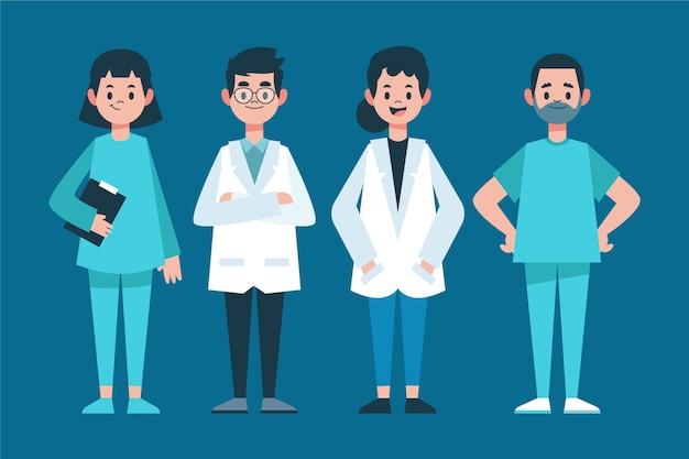 Grupo de médicos y enfermeras en primera línea