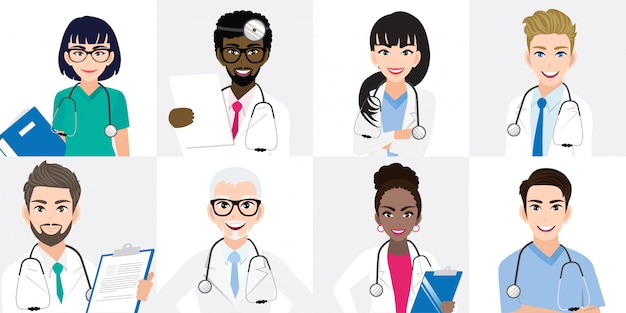 Grupo de médicos y un equipo de enfermeras de pie juntos en diferentes poses.